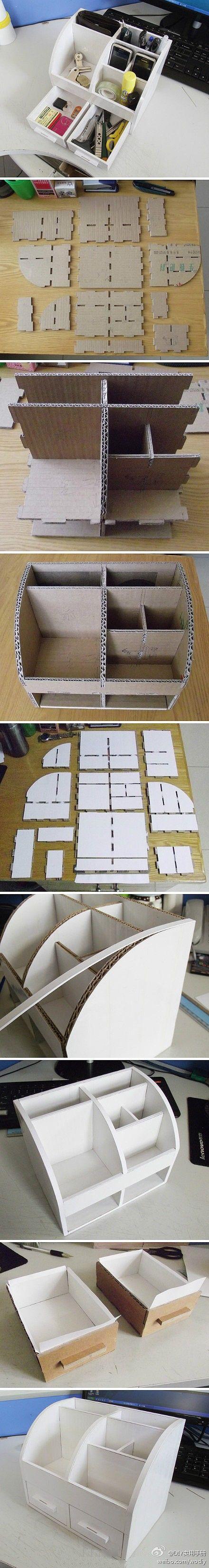 Organizador de escritorio de cartón | Bueno, bonito y barato ~ office organizer DIY: