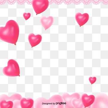 Pink Stereoscopic Heart Love Balloon Lace Valentines Day Png And Psd Bingkai