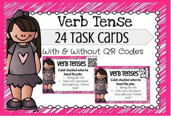 Verb Tense Task Cards  24 task cards with and without QR codes! Help students identify verbs and the tense that the verb is in!!