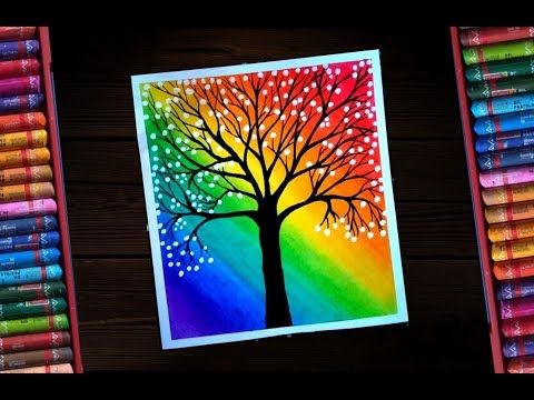 Oil Pastel Classic Rainbow Scenary With A Creative Blossom Tree For Oil Pastel Drawings Easy Oil Pastel Colours Oil Pastel Art
