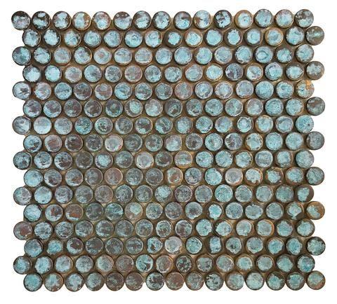 Verdigris Antique Patina Penny Round Copper Tile Emt T56 Cop At