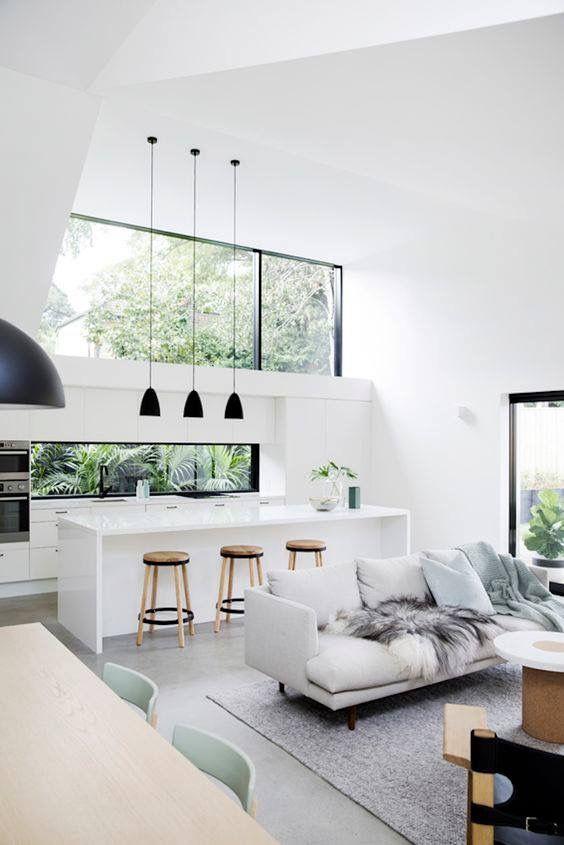 Modern Bright White Living Room Kitchen Minimalism Interior House Interior Home Decor Inspiration