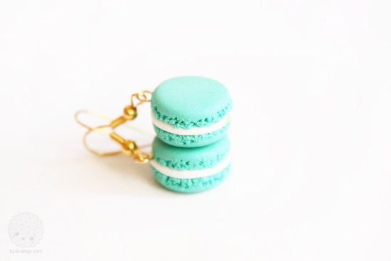 Mint Macaron Earrings  polymer clay miniatures PRE by kukishop