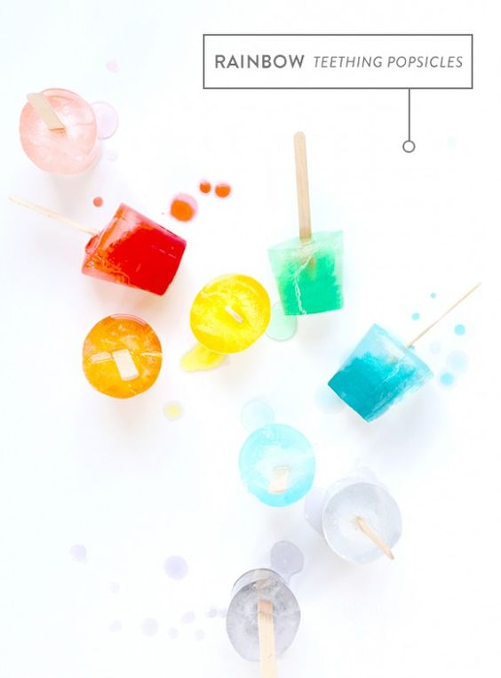 rainbow popsicles for teething