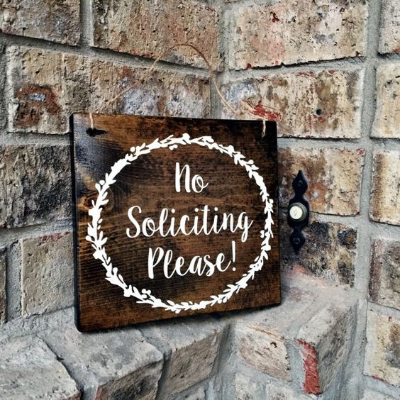 No Soliciting sign  7x8  Door Sign  No by TheWoodGrainHome on Etsy