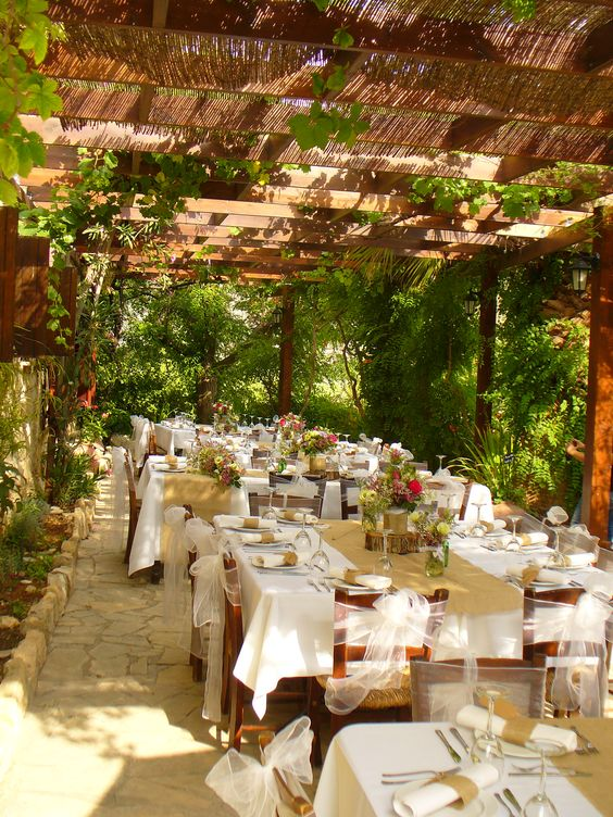 Our vine covered terrace offered to you exclusively for your wedding dinner