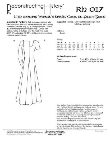 Reconstructing History Pattern Rh017 14th Century Women S