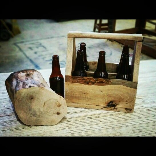 Beer caddy from log