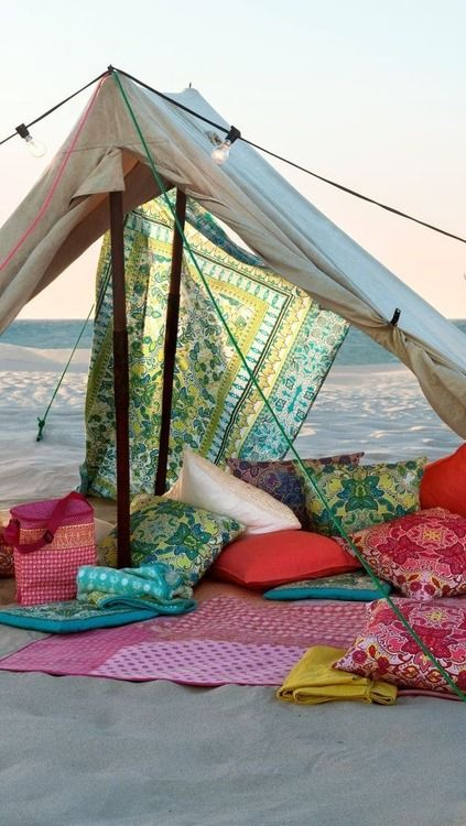 Summer Time, tent on the beach bohemian. this would be amazing if only I was on the west coast: