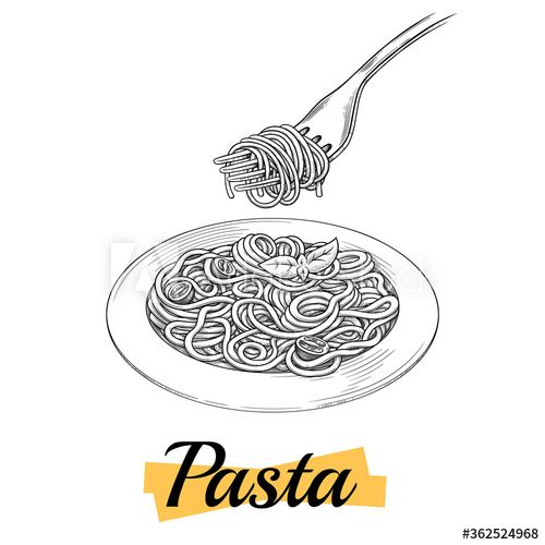 Spaghetti On A Plate Fork With Spaghetti Hand Drawn Design Fork Drawing Design Element