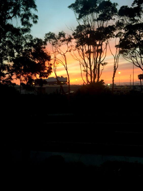 Sunset over Port Hueneme boat dock.