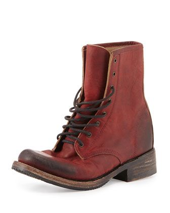 Charlie Leather Lace-Up Boot, Wine by Freebird at Neiman Marcus.