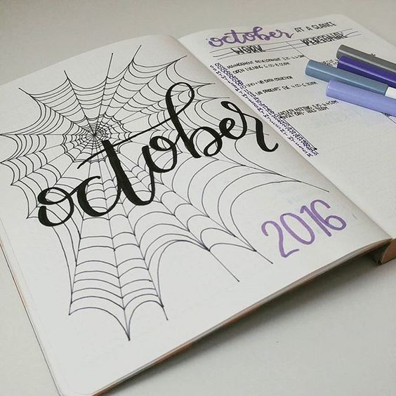 October set up inspired by @sunshine.and.stationery  (p.s. spiderwebs are surprisingly hard to draw ... !):
