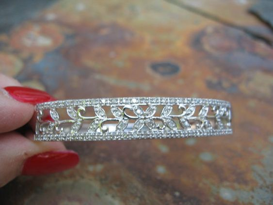 Estate 14 KT White Gold & Pave Diamond Filigree by NiceVixenGems, $1299.99
