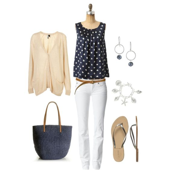Khaki, Navy and Silver=Great outfit!,-created by bluehydrangea.polyvore.com