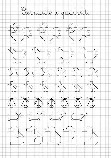 Cuadriculas con dibujos para pintar ariketa extrak - Cenefas para dibujar ...