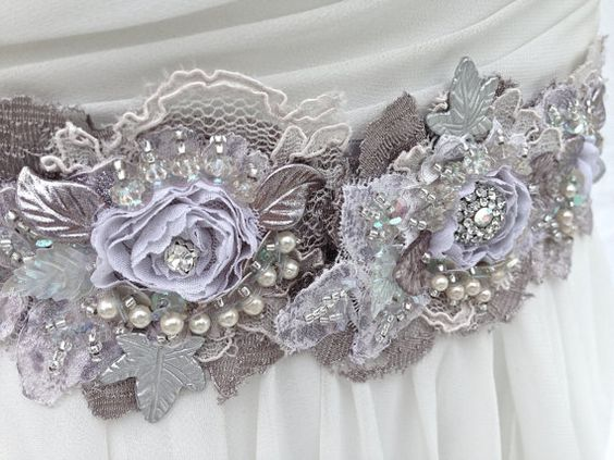 Beaded Lace Bridal Sash, Wedding Sash In Lavender, Plum And Silver With Crystals…