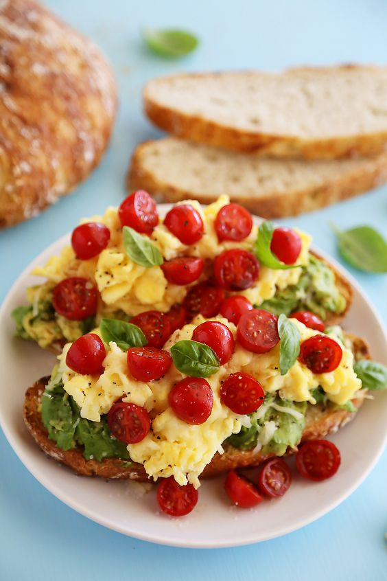 Scrambled Egg Caprese Avocado Toast