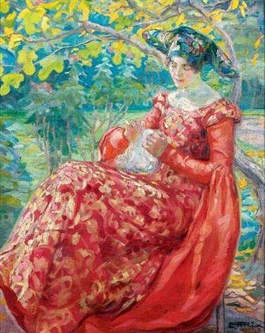 Broderie sous l'arbre, by Emily Hilda Rix Nicholas (Australian, 1884-1961):