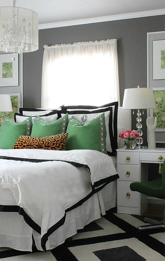 Bedroom makeovers bedrooms and green on pinterest for White and green bedroom designs