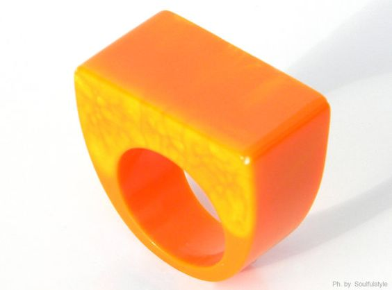 Orange Square Marbled Resin Ring by SOULFULSTYLE on Etsy, €16.80