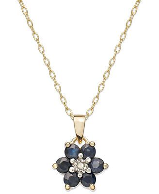 Victoria Townsend 18k Gold over Sterling Silver Necklace, Midnight Sapphire (9/10 ct. t.w.) and Diamond Accent Flower Pendant