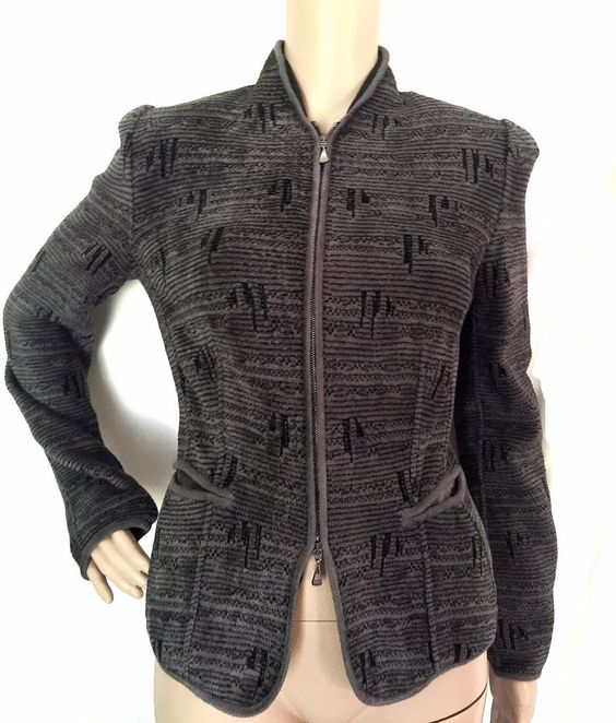 Giorgio Armani Black Label Grey Knit Textured Jacket  Size 42-US Size 8 - EUC #GiorgioArmani #jacket