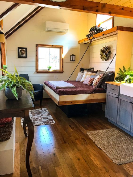 This Is The Highland Home It S A 10ft Wide By 24ft Long Tiny Home On Wheels Built By Incredible T Tiny House Living Room Tiny House Interior Tiny House Living