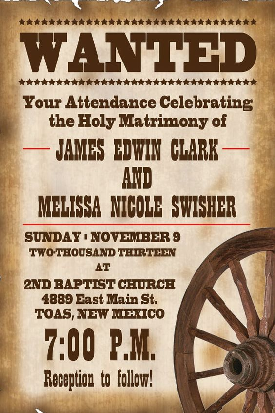 4x6 Old West WANTED Wedding Invitation by PayneGraphics on Etsy, $10.00