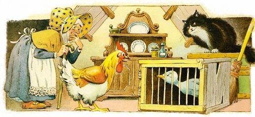 Гадкий_утенок_7 Однажды его путь проходил мимо дома одной старушки, проживающей в лесу. Она решила, что это дикий гусенок и поймала его.  - Я посажу его в клетку, – подумала она. – Надеюсь это гусыня и она будет высиживать для меня яйца. – Старуха была уже почти слепа и не могла разглядеть его хорошо.