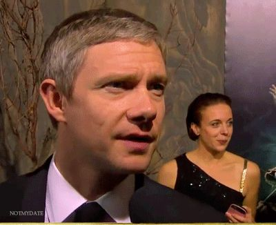 """""""In which the lovely Amanda Abbington suddenly realizes she is photo-bombing Martin's black carpet interview. We love you, Amanda!"""" <3"""