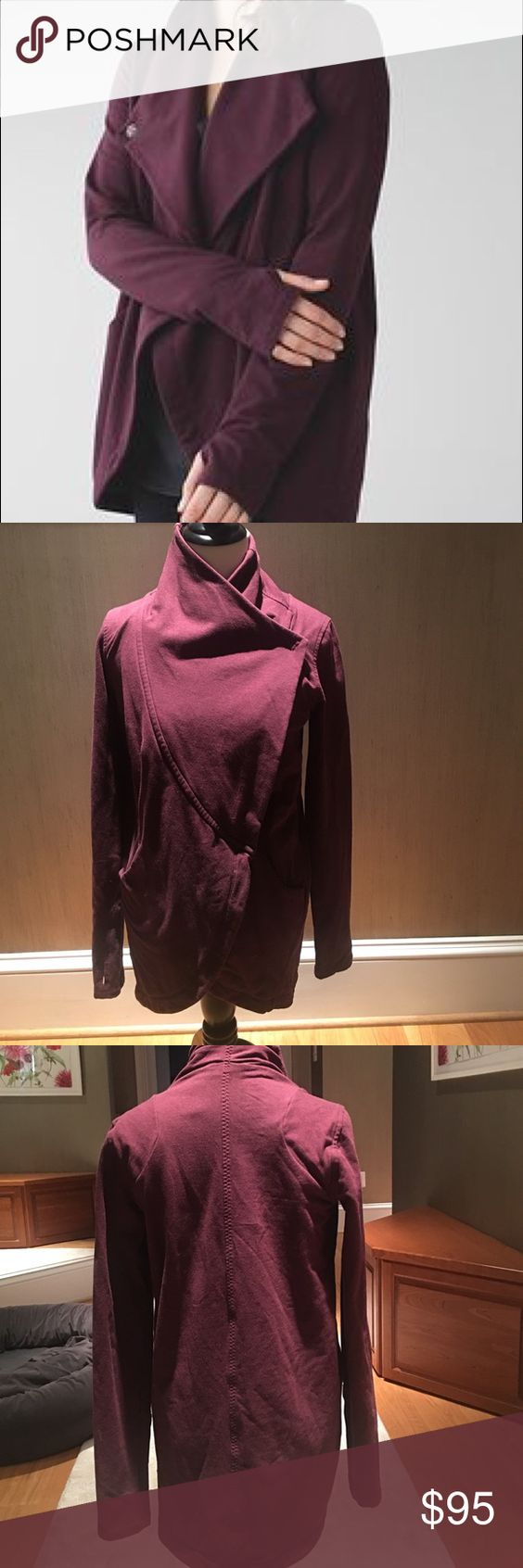 Women's Lululemon wrap coat Burgundy Lululemon wrap coat with two snaps and two pockets with thumb holes. in excellent condition. lululemon athletica Jackets & Coats Capes
