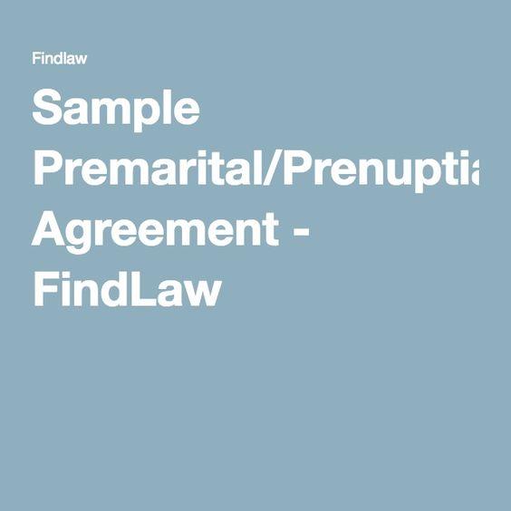 Sample PremaritalPrenuptial Agreement  Findlaw  Relationships