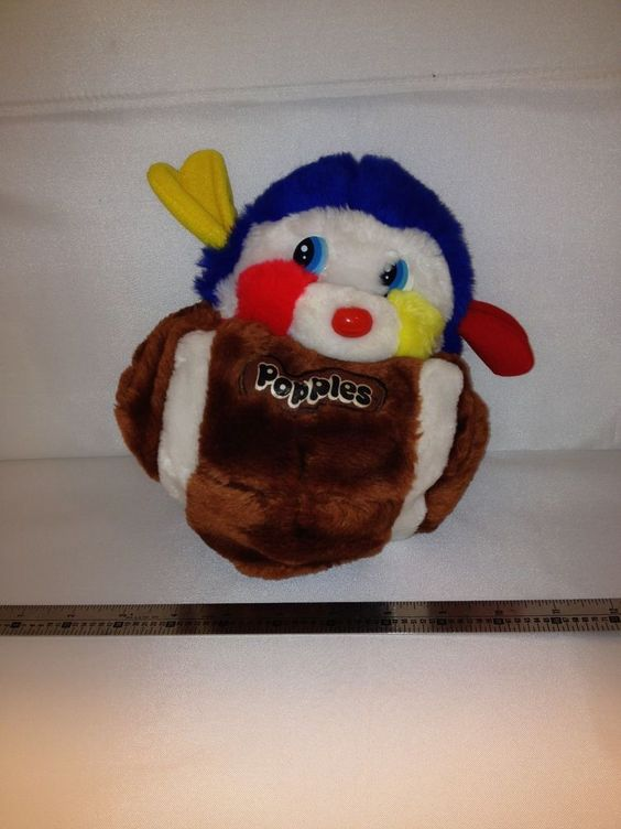 check it out lol red n yellow on the jersey baby... Vintage - POPPLES Mattel 1986 Football #16 Touchdown Sports Plush Toy EUC