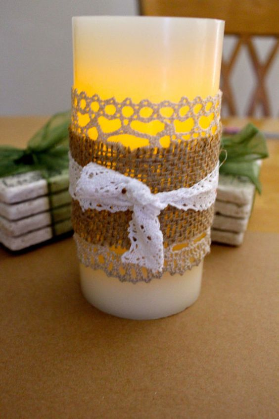 Flameless Luminary CANDLES   Shabby Chic Burlap and Lace