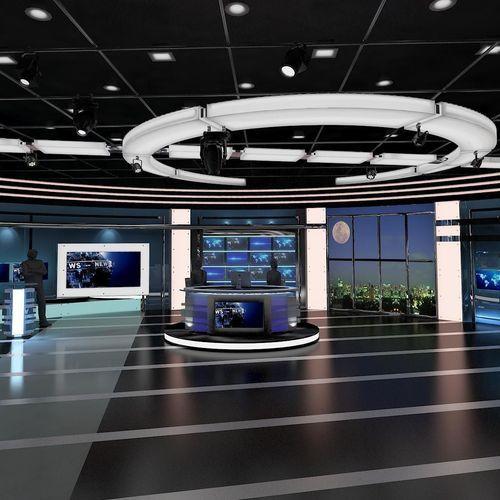 Tv Virtual Stage News Room Studio 027 3d Model Models
