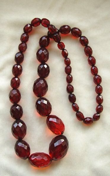 Victorian faceted cherry amber beads necklace