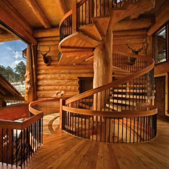Log cabin builder spiral staircase log stuff for Log cabin furniture canada