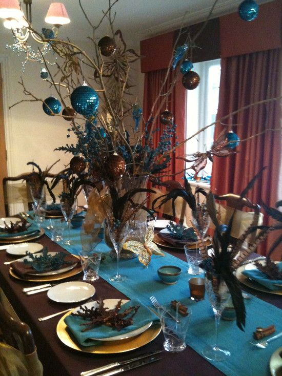 Brown and turquoise christmas table tablescapes table settings pinterest christmas - Deco table turquoise chocolat ...