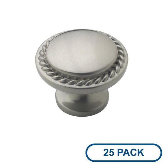 Amerock BP53001-25PACK Allison Value Hardware 1-3/8 Inch Diameter Mushroom Cabin Satin Nickel Cabinet Hardware Knobs Mushroom