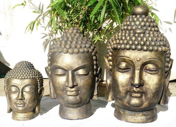 Cast Stone Buddha Head Statues