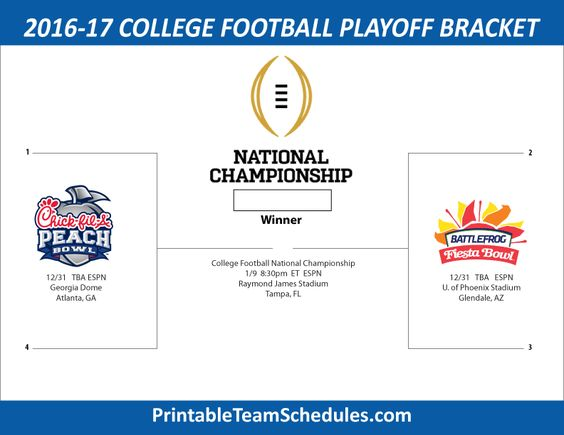 College Football Playoff Bracket 2017 Print Updated Bracket Here - http://printableteamschedules.com/collegefootball/playoffs.php