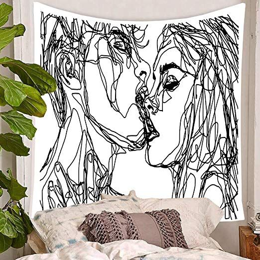 Amazon Com Tsda Youth Vigor Abstract Sketch Art Kiss Lovers