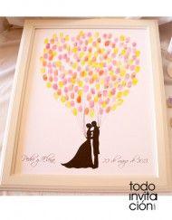 cuadro de huellas boda beso globos