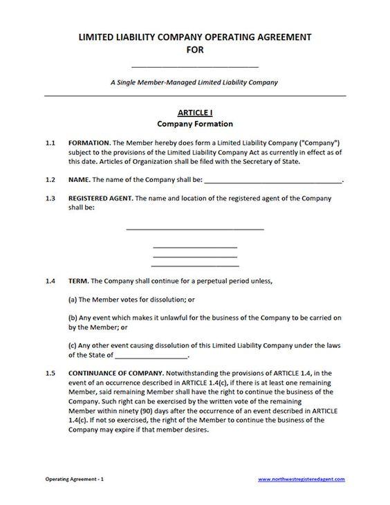 Free Single Member LLC Operating Agreement Template | Business ...