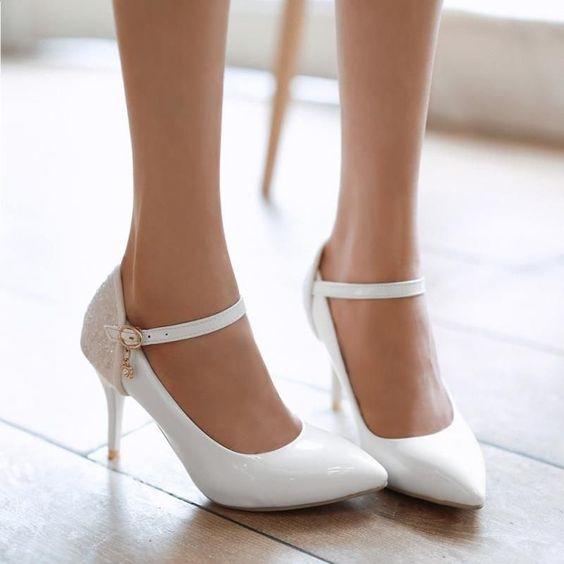 Women's Pumps High Heel Shoes Ankle Straps Patent Leather Bridal Shoes New #BrandNew #Stilettos: