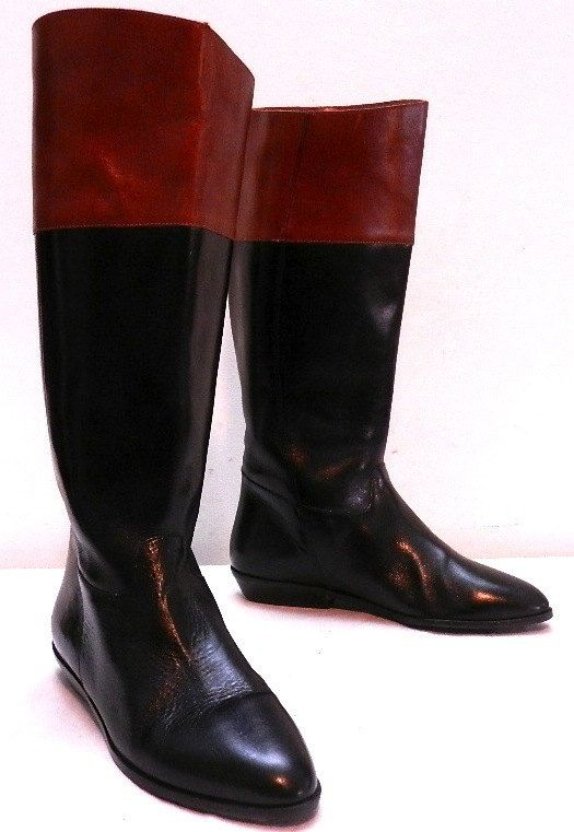 Vintage 7 Black & Brown Low Heel Riding Equestrian Boots by FoundMarket, $65.00
