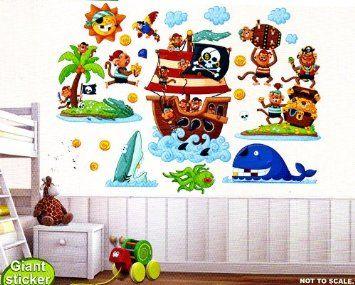 Kit 3 pz fogli con adesivi murali pirati cm 60x90 per cameretta bambini casa e - Adesivi murali per cucina ...