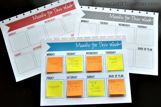 Sticky Note Meal Planner great for me, since I always need to swap them around: