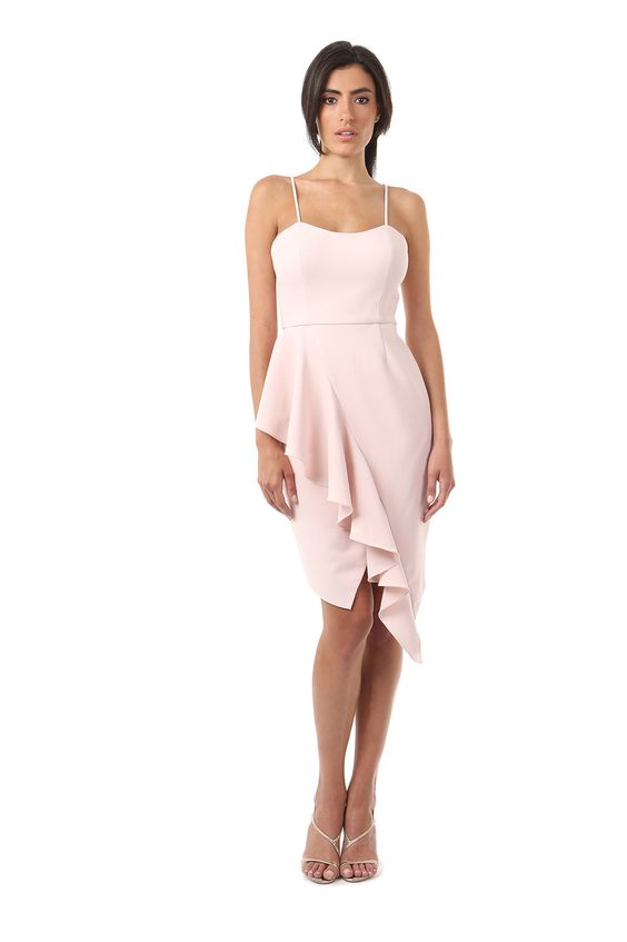 ROMERO DRESS  was $354 now $106  MATTE CREPE SPAGHETTI STRAP DRESS WITH RUFFLE FRONT FROM WAIST TO HEM. HIDDEN ZIPPER BACK WITH HOOK AND EYE CLOSURE. ULTRA FEMININE AND FLIRTY, THE RUFFLE ADDS EXCITEMENT TO THIS SEXY AND SOPHISTICATED DRESS.